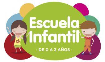 Logotipo Escuela Infantil fondo colores blanco